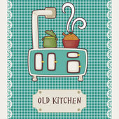 Retro card old kitchen Vintage stove top with pots