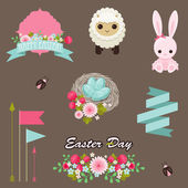 Easter design elements vector collection