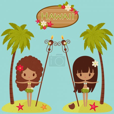 Hawaii  poster with Hula dancers and palm trees