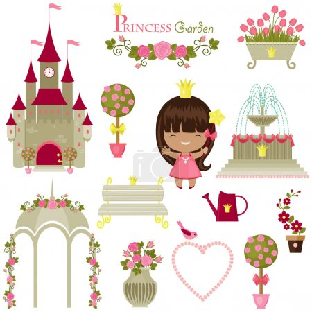 Princess garden. Cute isolated icons over white background