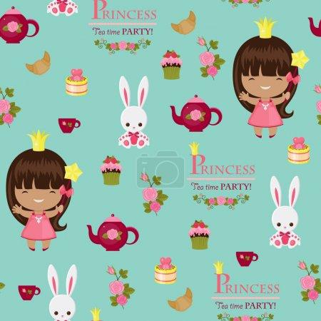 Princess tea time party seamless pattern