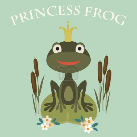 Illustration of a smiling princess frog sitting in the lake