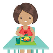 Little girl is eating her dinner Vector illustration