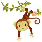 Cute cartoon monkey hanging on a liana Vector clip art illustra