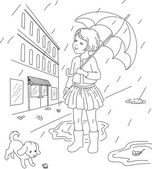 Outlined illustration of a little girl with her dog outside Rainy days in a town