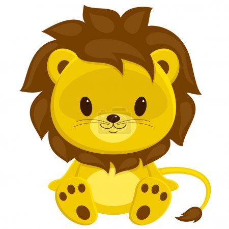 Illustration for Cartoon vector illustration of sitting lion cub. Isolated over white. - Royalty Free Image
