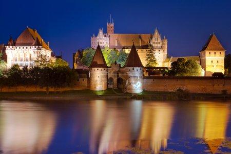 Malbork castle in Poland at night