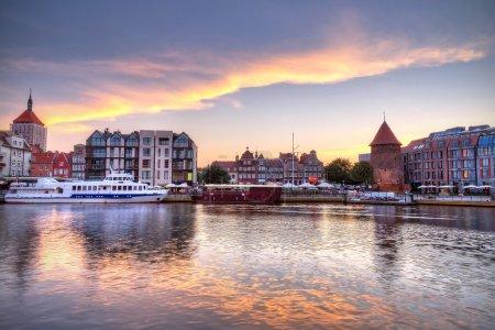Old town of Gdansk at Motlawa river at sunset