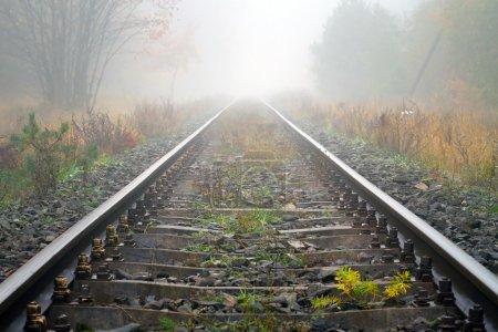 Train rails in foggy weather