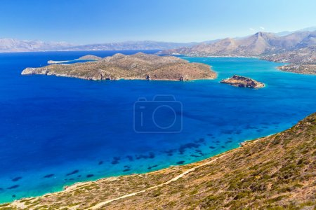 Turquise water of Mirabello bay with Spinalonga island