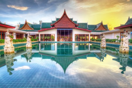 Photo for Oriental style architecture in Thailand at sunrise - Royalty Free Image