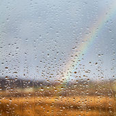 Rainbow through rained window