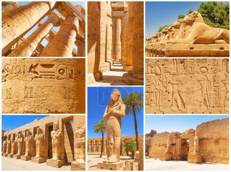Collage of Karnak architecture in Luxor, Egypt...