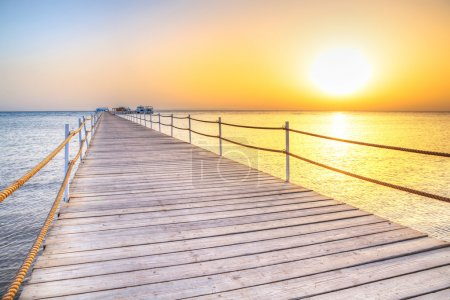Pier on Red Sea in Hurghada at sunrise