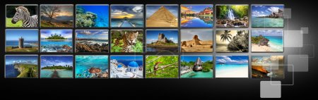 Photo for Streams of images with different holiday destinations - Royalty Free Image