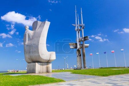 Joseph Conrad monument in Gdynia at Baltic Sea
