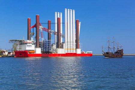 Shipyard in Gdynia with wind turbine installation vessel