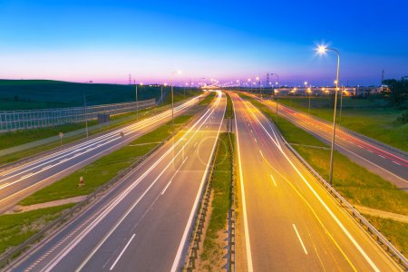 Photo for Bypass road of Tri city at dusk, Poland - Royalty Free Image