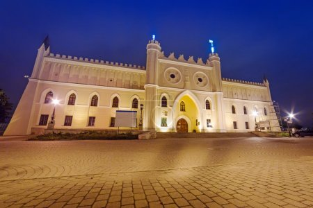 Medieval royal castle in Lublin at night