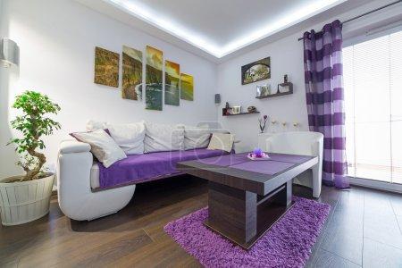 Foto de Moderna sala interior con lona en la pared. (fotos de mi galería) - Imagen libre de derechos