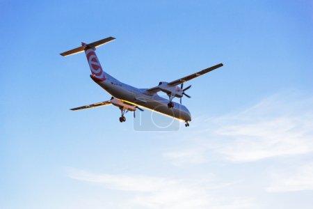 Eurolot aircraft landing on Lech Walesa Airport in Gdansk