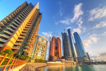 Architecture of Abu Dhabi at sunrise, UAE