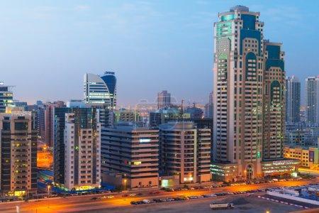 Technology park of Dubai Internet City at night