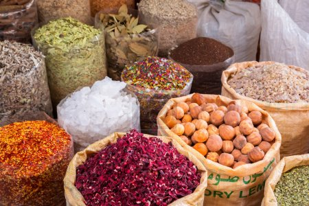 Spices and herbs on the market