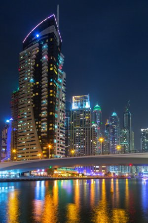 Skyscrapers of Dubai Marina at night, UAE