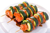 Salmon and courgette shashlik