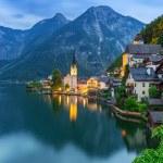 Hallstatt village in Alps at dusk, Austria...
