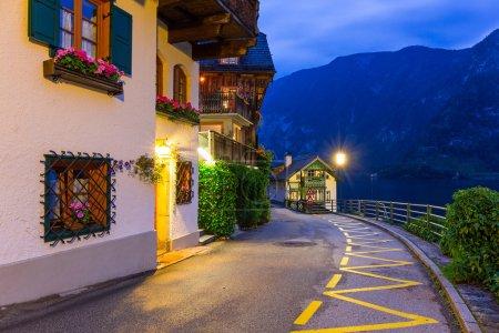 Hallstatt village in Alps at night