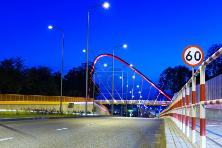 Cable stayed bridge in Bydgoszcz at night