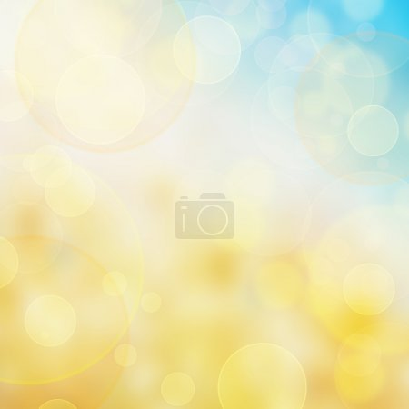 Abstract blue and yellow bokeh background with copy space
