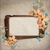 Üdvözlőlap, virágok, szívek papír vintage háttér