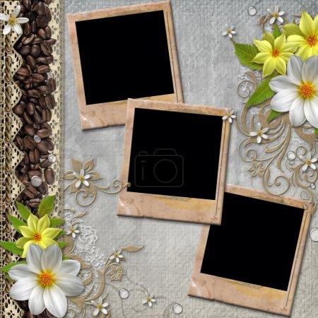 Photo pour Couverture d'album avec fleurs, cadres, dentelle et café a été carte vintage - image libre de droit