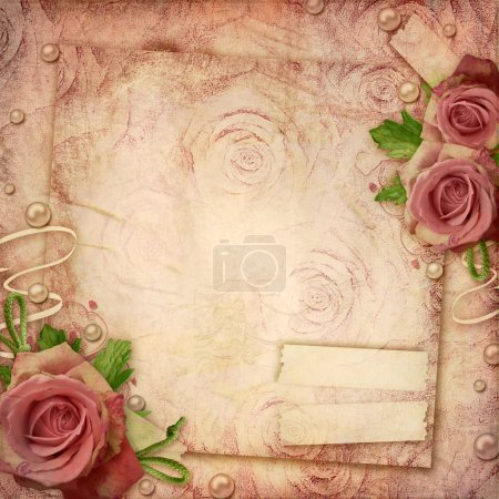 Photo for A vintage, textured paper background with roses, pearls - Royalty Free Image