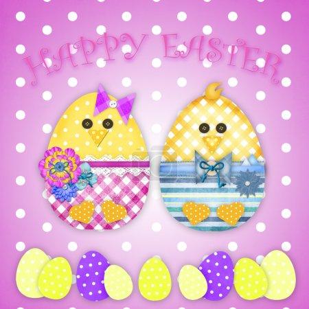 Photo pour Pâques carte avec un poussin - image libre de droit