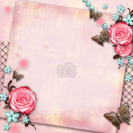Photo pour Carte de vœux avec fleurs, papillon sur fond vintage en papier rose - image libre de droit