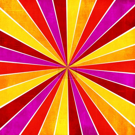 Colorful yellow, pink, orange and red ray sunburst style abstrac