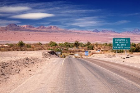 Entrance road to San Pedro de Atacama, Chile