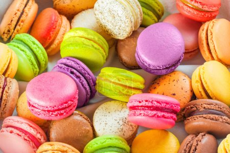 Photo for Traditional french colorful macarons in a box - Royalty Free Image