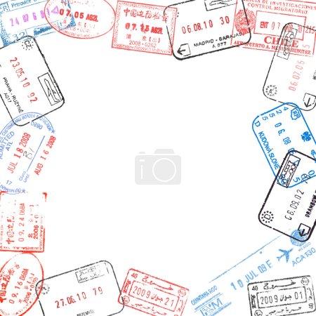 Photo pour Cadre de différents timbres de visa passeport - image libre de droit