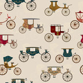 Seamless pattern with various antique carriages