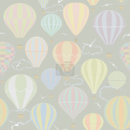 Illustration pour Modèle sans couture avec des ballons à air chaud - image libre de droit