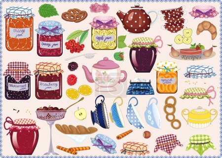 Illustration for Tea collection of jam-jars, teacups, teapots, fruits and pastry - Royalty Free Image