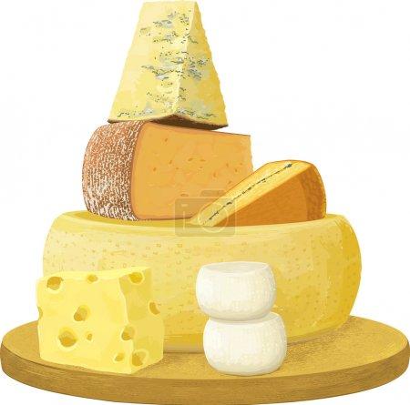 Illustration pour Groupe de différents fromages sur fond blanc. Chaque objet est isolé et séparé en couches. PSE8 - image libre de droit