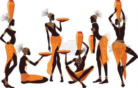 Illustration for African women isolated over white background - Royalty Free Image