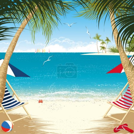 Photo for Tropical island with deck chairs under palm trees - Royalty Free Image