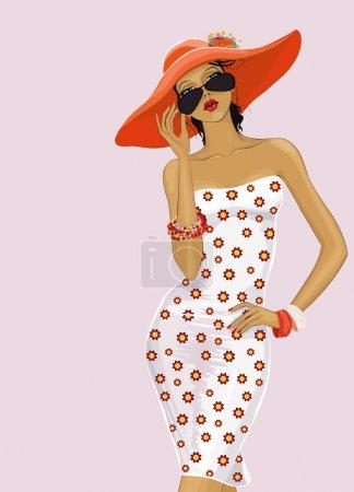 Illustration pour Belle fille dans un chapeau rouge regardant au-dessus des lunettes de soleil - image libre de droit